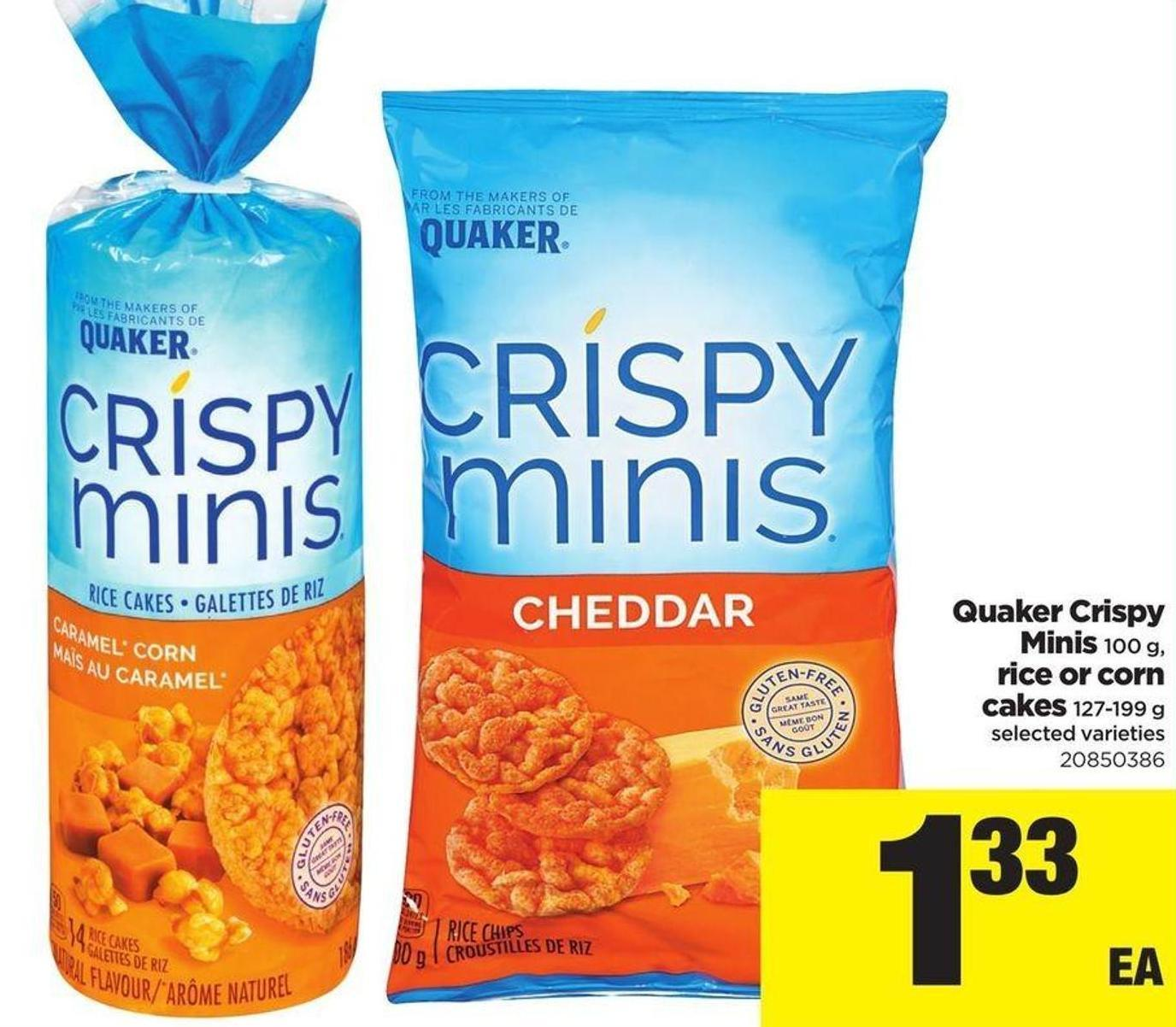 Quaker Crispy Minis 100 G - Rice Or Corn Cakes 127-199 G