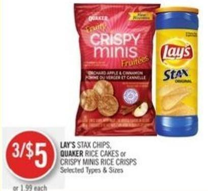 Lay's Stax Chips - Quaker Rice Cakes or Crispy Minis Rice Crisps