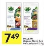 Mclean Organic Sliced Deli Meat Selected 125 g