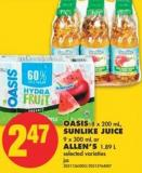 Oasis 8 X 200 mL - Sunlike Juice 9 X 300 mL or Allen's 1.89 L