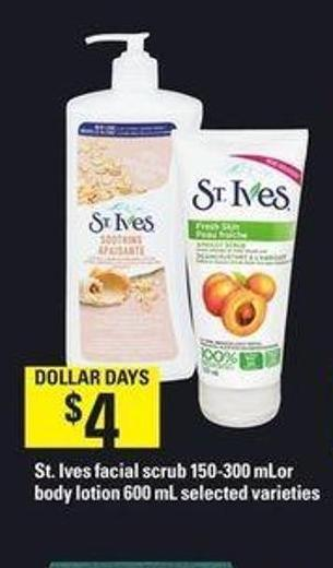 St. Ives Facial Scrub 150-300 Ml Or Body Lotion 600 Ml