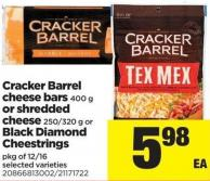 Cracker Barrel Cheese Bars 400 G Or Shredded Cheese 250/320 G Or Black Diamond Cheestrings Pkg Of 12/16