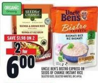 Uncle Ben's Bistro Express Or Seeds Of Change Instant Rice