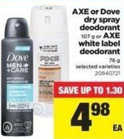 Axe Or Dove Dry Spray Deodorant - 107 G Or Axe White Label Deodorant