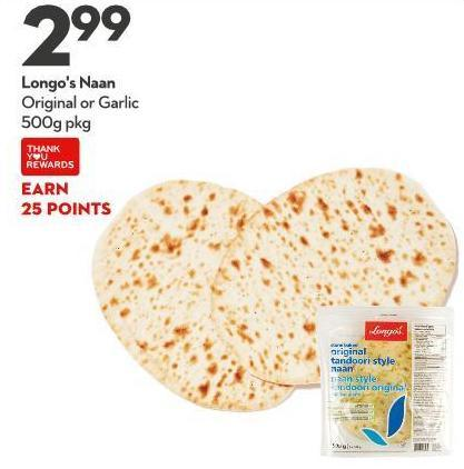 Longo's Naan Original or Garlic 500g Pkg