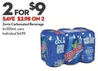 Zevia Carbonated Beverage 6x355ml Cans