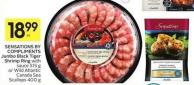 Sensations By Compliments Jumbo Black Tiger Shrimp Ring With Sauce 515 g or Wild Atlantic Canada Sea Scallops 400 g