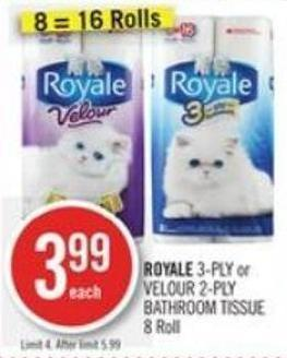 Royale 3-ply or Velour 2-ply Bathroom Tissue