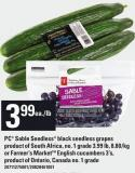 PC Sable Seedless Black Seedless Grapes Or Farmer's Market English Cucumbers 3's