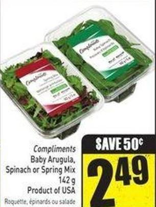 Baby Arugula - Spinach or Spring Mix 142 g Product of USA