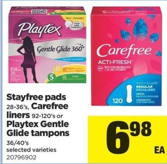 Stayfree Pads - 28-36's - Carefree Liners - 92-120's Or Playtex Gentle Glide Tampons - 36/40's