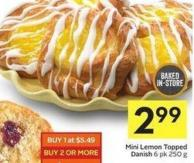Mini Lemon Topped Danish 6 Pk 250 g