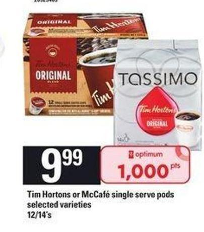 Tim Hortons Or Mccafé Single Serve PODS - 12/14's