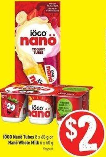 Iögo Nanö Tubes 8 X 60 g or Nanö Whole Milk 6 X 60 g