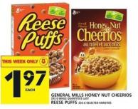 General Mills Honey Nut Cheerios Or Reese Puffs