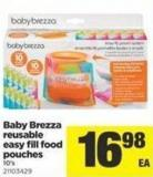 Baby Brezza Reusable Easy Fill Food Pouches - 10's