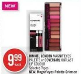 Rimmel London Magnif'eyes Palette or Covergirl Outlast Lip Colour