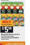 Minute Maid - Nestea Iced Tea Or Five Alive Juice Boxes - 8/10x200 mL