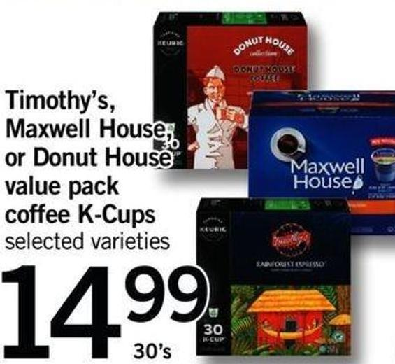 Timothy's - Maxwell House - Or Donut House Value Pack Coffee K-cups - 30's