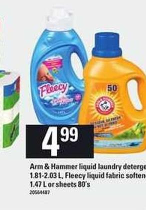 Arm & Hammer Liquid Laundry Detergent - 1.81-2.03 L - Fleecy Liquid Fabric Softener - 1.47 L or Sheets - 80's