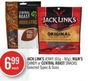Jack Link's Jerky (65g - 80g) - M&m's Candy or Central Roast Snacks