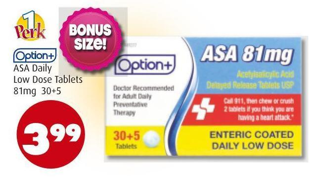 Option+ Asa Daily Low Dose Tablets 81mg   30+5