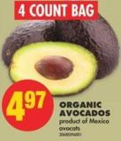 Organic Avocados - 4 Count Bag