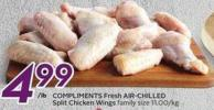 Compliments Fresh Air-chilled Split Chicken Wings