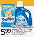 Snuggle Fabric Softener Sheets - 105/120's - Liquid Fabric Softener - 439 G/1.47 L - Purex Or Persil Laundry Detergent - 1.18-2.03 L - 15/16's.