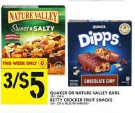 Quaker 120 - 230 G Or Nature Valley Bars Betty Crocker Fruit Snacks 128 - 226 G