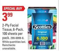 Scotties C2-ply Facial Tissue - 6-pack