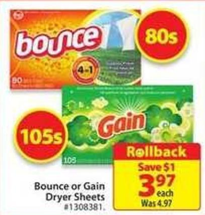Bounce or Gain Dryer Sheets