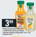 Simply Orange Juice - Lemonade Or Gold Peak Iced Tea Beverages - 1.54 -1.75 L
