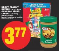 Kraft Peanut Butter - 750 G/1 Kg or General Mills Cereal - 526-778 g