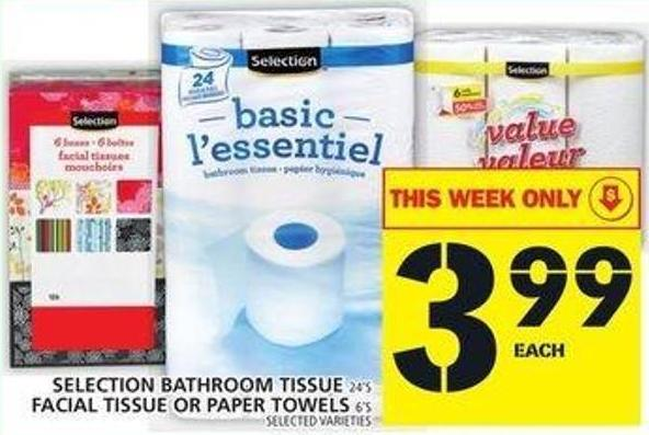 Selection Bathroom Tissue Or Facial Tissue Or Paper Towels