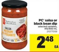 PC Salsa Or Black Bean Dip - 415/650 mL