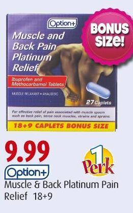Option+ Muscle & Back Platinum Pain Relief 18+9