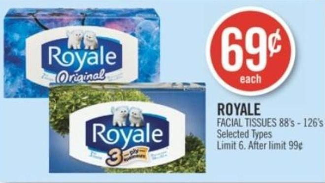 Royale Facial Tissues 88's - 126's
