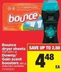 Bounce Dryer Sheets - 105-120's Or Downy/ Gain Scent Boosters - 185 G
