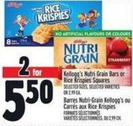 Kellogg's Nutri Grain Bars Or Rice Krispies Squares