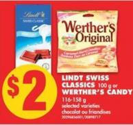 Lindt Swiss Classics - 100 g or Werther's Candy - 116-158 g