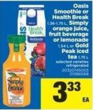 Oasis Smoothie Or Health Break - 1.36-1.75 L - Simply Orange Juice - Fruit Beverage Or Lemonade - 1.54 L Or Gold Peak Iced Tea - 1.75 L