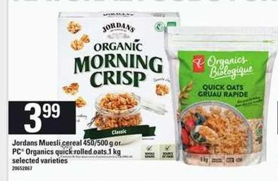 Jordans Muesli Cereal - 450/500 G Or PC Organics Quick Rolled Oats - 1 Kg