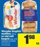 Wonder English Muffins - 342 G Or Old Mill Bagels - Pkg Of 6