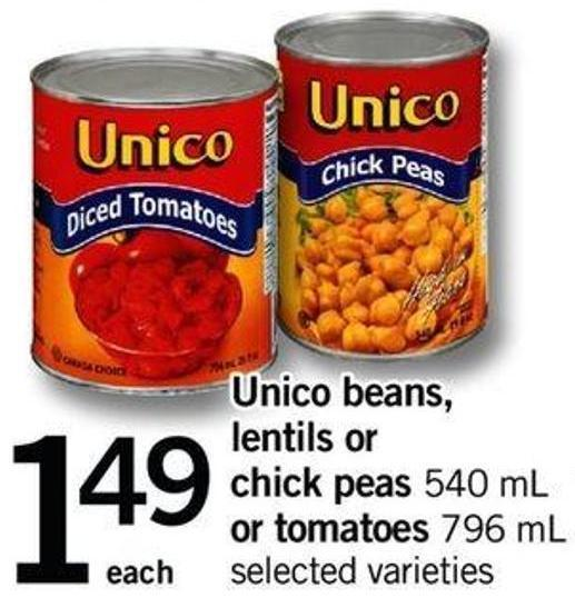 Unico Beans - Lentils Or Chick Peas 540 Ml Or Tomatoes 796 Ml