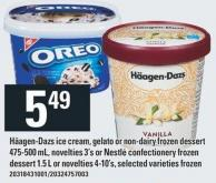 Häagen-dazs Ice Cream - Gelato Or Non-dairy Frozen Dessert 475-500 mL - Novelties 3's or Nestlé Confectionery Frozen Dessert 1.5 L Or Novelties 4-10's