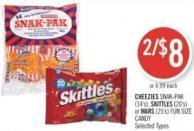 Cheezies Snak-pak (14's) - Skittles (20's) or Mars (25's) Fun Size Candy