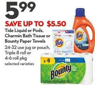 Tide Liquid or Pods - Charmin Bath Tissue or Bounty Paper Towels 24-32 Use Jug or Pouch - Triple 8 Roll or  4-6 Roll Pkg