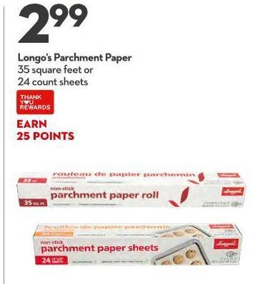 Longo's Parchment Paper 35 Square Feet or