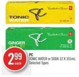 PC Tonic Water or Soda 12 X 355ml